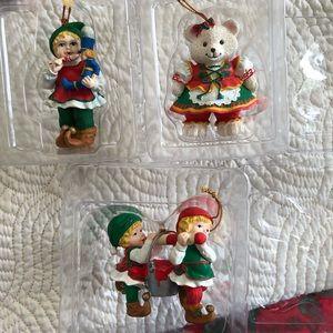 Christmas ornaments Santa's elves & German Bear